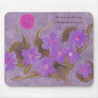Purple flowers on lavender with Vietnamese proverb Mouse Pad