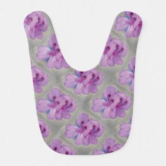 Purple Flowers on Silver Baby Bib