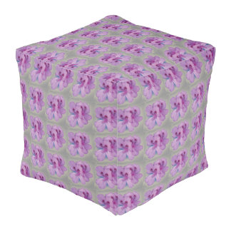Purple Flowers on Silver Gray Cubed Pouf