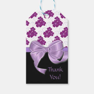 Purple Flowers Pattern Lavender Ribbon Pack Of Gift Tags