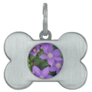 purple flowers pet ID tag
