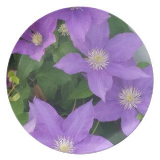 purple flowers plates