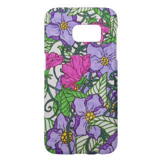 purple flowers samsung galaxy s7 case