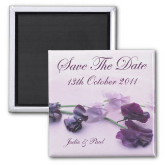Purple Flowers - Save The Date Magnet