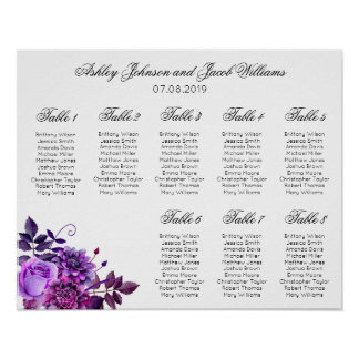 Purple flowers seating chart print. Floral wedding Poster