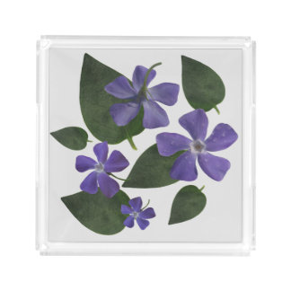 purple flowers serving tray