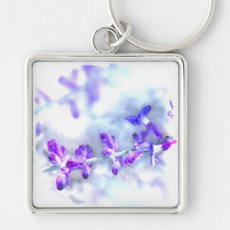 Purple Flowers Silver-Colored Square Keychain