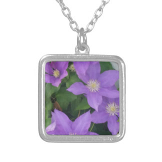 purple flowers silver plated necklace