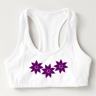 Purple Flowers Sports Bra