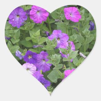 Purple Flowers Spring Garden Theme Petunia Floral Heart Sticker