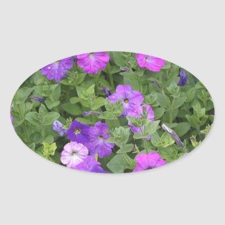Purple Flowers Spring Garden Theme Petunia Floral Oval Sticker
