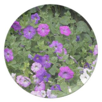 Purple Flowers Spring Garden Theme Petunia Floral Plate