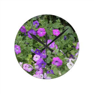 Purple Flowers Spring Garden Theme Petunia Floral Round Clock
