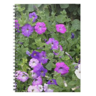 Purple Flowers Spring Garden Theme Petunia Floral Spiral Note Book