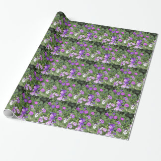 Purple Flowers Spring Garden Theme Petunia Floral Wrapping Paper