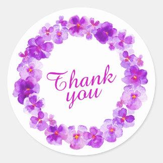 Purple flowers thank you watercolor art stickers