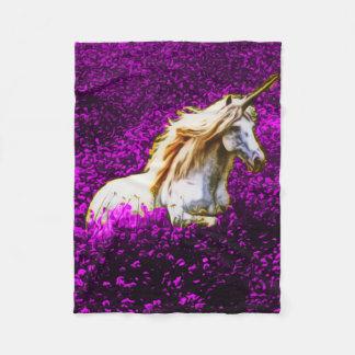 Purple Flowers Unicorn Fleece Blanket