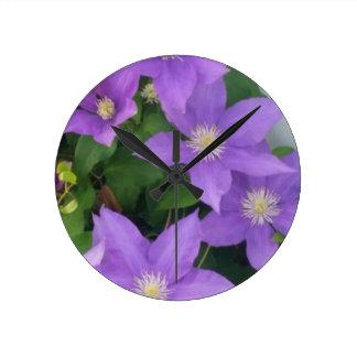 purple flowers wallclock
