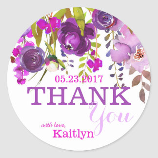 Purple Flowers Watercolor Floral Thank You Round Sticker