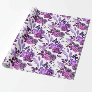 Purple flowers watercolor Violet floral Botanical Wrapping Paper