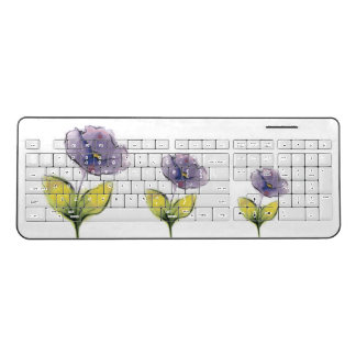 Purple Flowers Wireless Keyboard