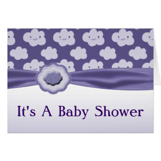 Purple Fluffy Clouds Baby Shower Note Card