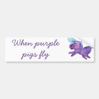 Purple Flying Pig Bumper Sticker
