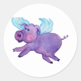 Purple Flying Pig Round Sticker