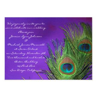 Purple Foil Peacock Wedding Card