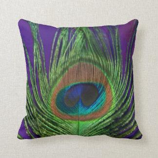 Purple Foil Single Peacock Throw Pillow