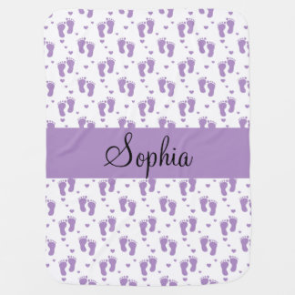 Purple Footprints and Hearts Baby Blanket