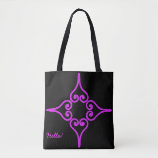Purple Four Hearts Flower Pattern Tote Bag