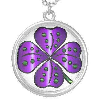 Purple Four Leaf Clover Pendant