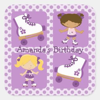 Purple Four Square Rollerskating Birthday Square Sticker