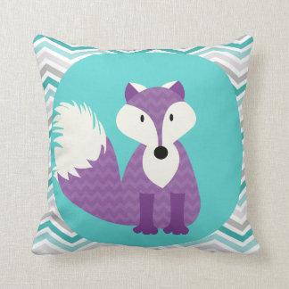Purple Fox on Aqua Throw Pillow