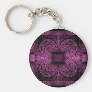 Purple Fractal Basic Round Button Keychain