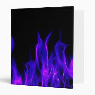 Purple Fractal Flames 3 Ring Binders