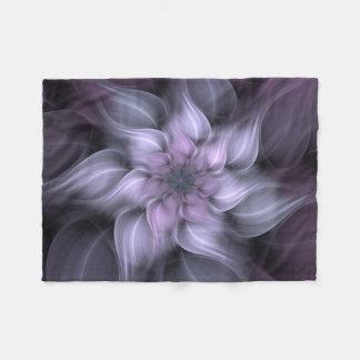Purple Fractal Flower Fleece Blanket