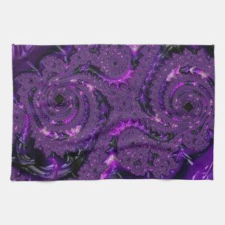 Purple Fractal Kitchen Towel