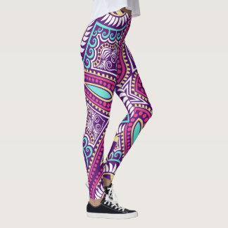 Purple fractal mandala floral ornament pattern leggings