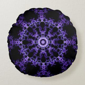 Purple Fractal Mandala Round Pillow