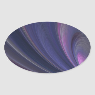 Purple Fractal Oval Sticker