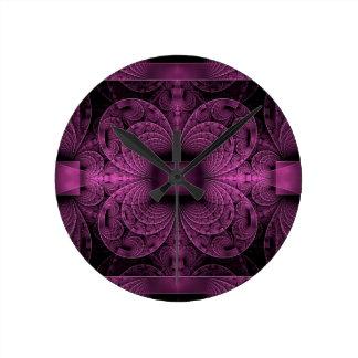 Purple Fractal Round Clock