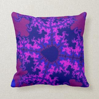 Purple Fractal Splash Throw Pillow