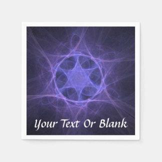 Purple Fractal Star of David Paper Napkin