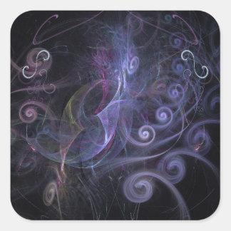 Purple fractals swirls square sticker