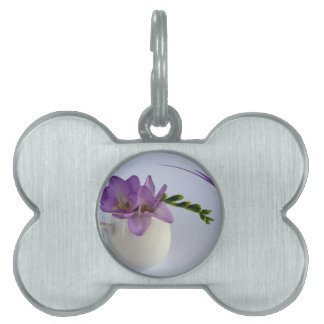 purple freesia buds pet name tags