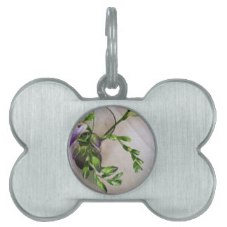 purple freesia buds pet tags