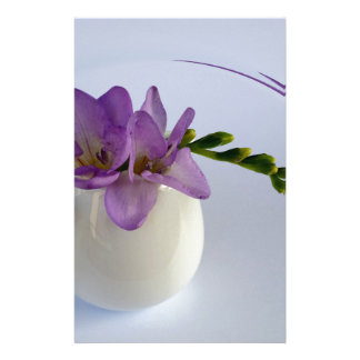 purple freesia buds stationery paper