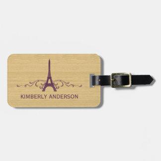 Purple French Flourish Luggage Tag